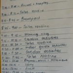 Pre school timetable